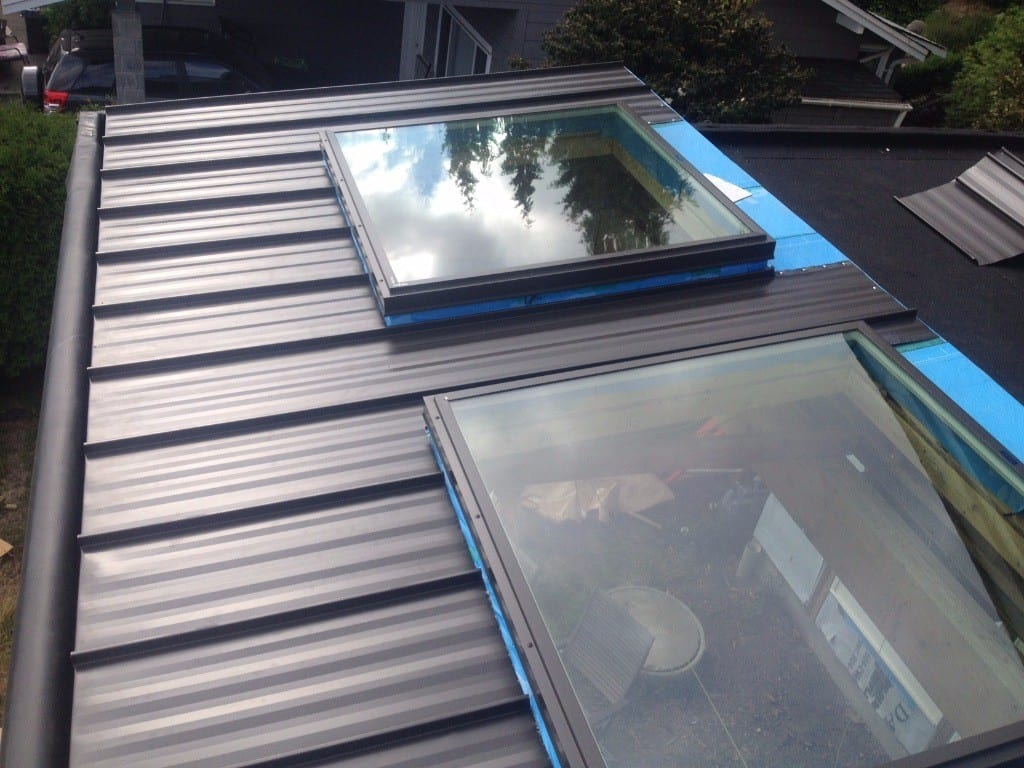 flat metal roofing with skylight
