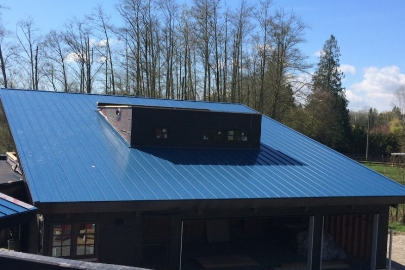 blue flat metal roof Vancouver bc