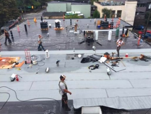 commercial roofing project at 16th ave in Vancouver
