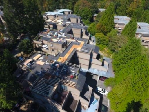 commercial roofing project at Saturna drive in Burnaby