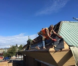 One of the our Vancouver roofing contractors is woking on custom roof project in Vancouver