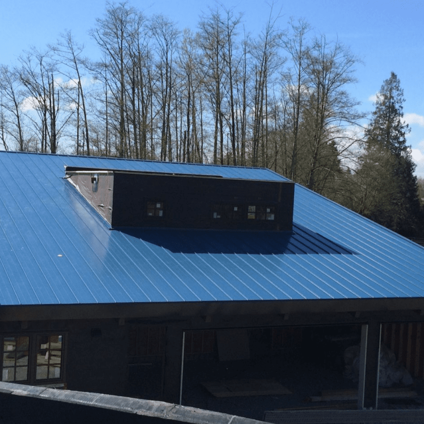 visual image of metal clad commercial roof